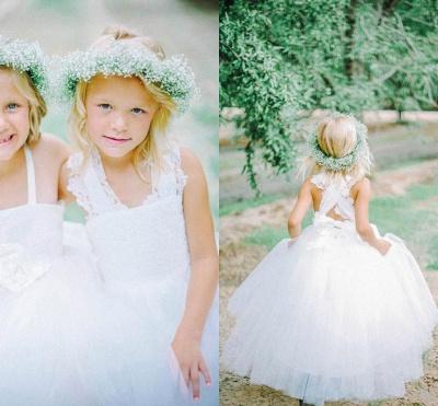 White Tulle Long Flower Girl Dress White Lace Dress with Crossed Back BO8530_2