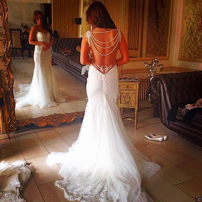 Backless Lace Bridal Gowns Sheath Mermaid Wedding Dress with Pearls Chains_3
