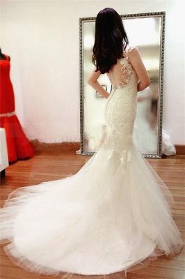 New Arrival Lace  Wedding Dress Sheer Back Sexy Mermaid Bridal Dresses_4