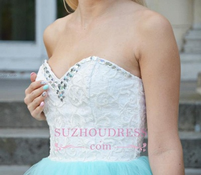 Sleeveless Lace Mini Newest Crystal Sweetheart Homecoming Dress_5