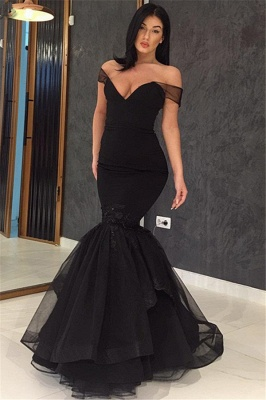 Off The Shoulder Mermaid Sexy Evening Gowns  Black Open Back  Prom Dress_1