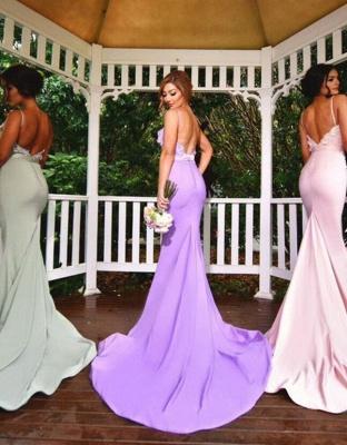 3D Floral Appliques Spaghettis Straps Formal Dress Long Elegant Mermaid Bridesmaid Dresses_3