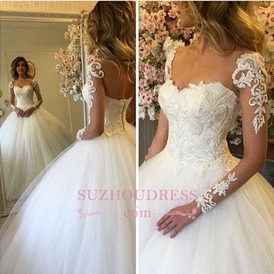 Ball Gown Lace Up Bride Dress  Long Sleeves Glam Lace Wedding Dress BA7300_1