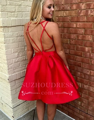 New Arrival Sleeveless V-neck Simple Red Short A-line Homecoming Dress_1