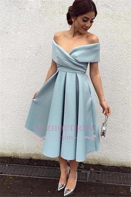 Baby Blue Tea Length Short Homecoming Dress Elegant Off The Shoulder  Evening Dresses_1