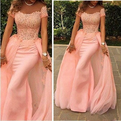 New Arrival Pink Off the Shoulder Evening Gown Short Sleeve  Mermaid Long Prom Dress_3