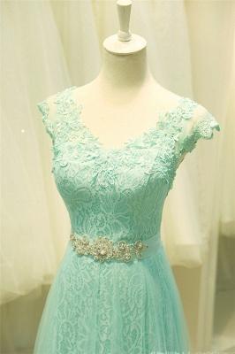 Lace V-Neck Applique  Prom Dress Tulle Lace Up Elegant Long Evening Dresses_5
