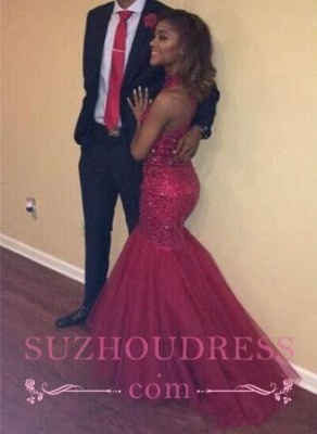 Mermaid Sparkly Beading Halter Sequined Tulle Sexy  Open-Back Sleeveless Prom Dress_4