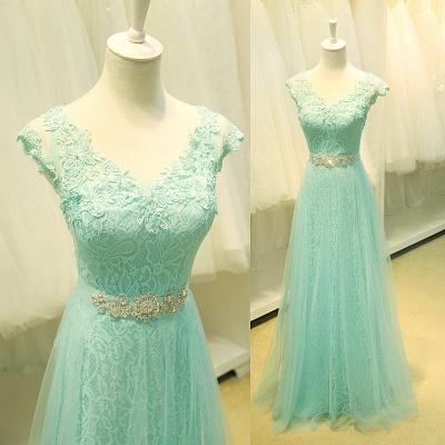Lace V-Neck Applique  Prom Dress Tulle Lace Up Elegant Long Evening Dresses_2