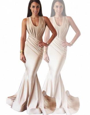 Sexy Mermaid  Slinky Nude Evening Gown Sleeveless  Prom Dress BA3633_5