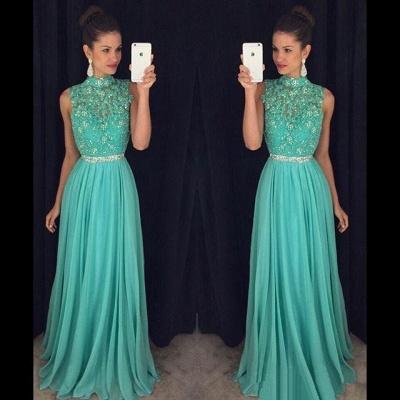 Charming Open Back Prom Dresses  Green Chiffon Long Evening Gowns BA7556_3