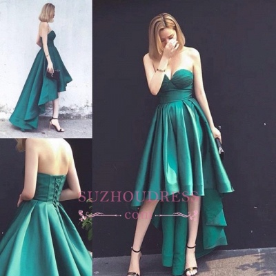 Hot Sleeveless Ruffles Asymmetrical Hi-Lo Lace-up Sweetheart Evening Gown_1