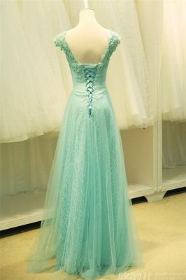 Lace V-Neck Applique  Prom Dress Tulle Lace Up Elegant Long Evening Dresses_3