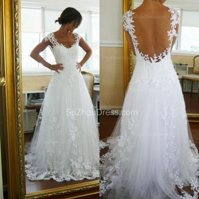 Lace Wedding Dresses  Straps Cap Sleeve Appliques A Line Sweep Train White  Open Back Bridal Gowns_2