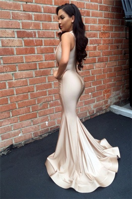 Sexy Mermaid  Slinky Nude Evening Gown Sleeveless  Prom Dress BA3633_3