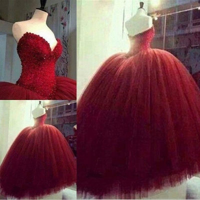 Quinceanera Dresses Burgundy Tulle Sweetheart Evening Ball Gowns BA4051_3