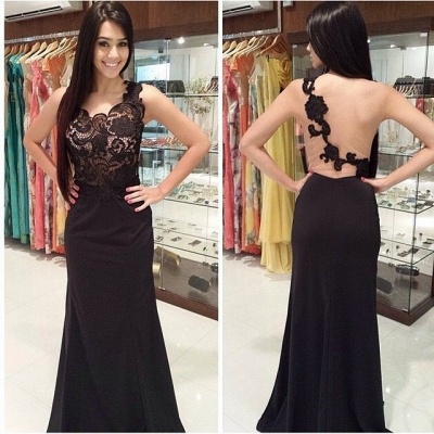 New Arrival Black Lace One Shoulder Prom Dress Flowers Open Back Formal Occasion Dress_3