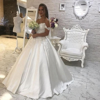 Tempting Off-the-shoulder Wedding Dresses Lace White Bridal Gowns Online_3