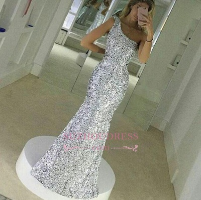 Mermaid Popular One Shoulder Evening Gown Sequined Floor Lenth Simple Prom Dress qq0148_1