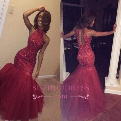 Mermaid Sparkly Beading Halter Sequined Tulle Sexy  Open-Back Sleeveless Prom Dress_1