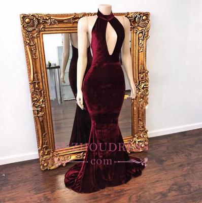Mermaid Backless Prom Dress  Zipper Stunning High Neck Long Velvet Evening Dress BA6202_3