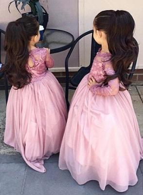 A-Line Long Sleeve Pink Flower Girl Dressb  Cute Long Sleeve Wedding Dress BO8435_2