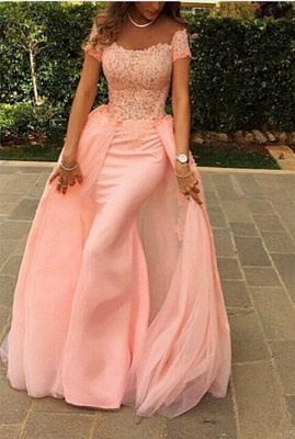 New Arrival Pink Off the Shoulder Evening Gown Short Sleeve  Mermaid Long Prom Dress_1