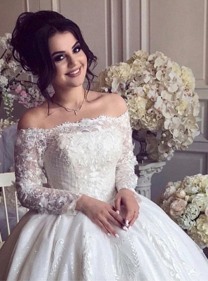 Glamorous Off Shoulder Long Sleeves Wedding Dresses  | Lace Brial Ball Gowns_3