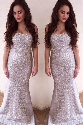 Sweetheart Sexy Mermaid Sleeveless Evening Dresses Zipper Charming Lace Applique  Gowns_1