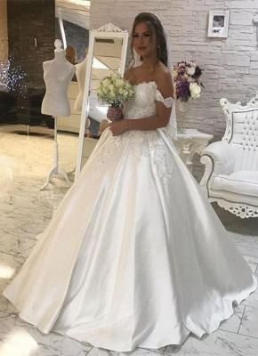 Tempting Off-the-shoulder Wedding Dresses Lace White Bridal Gowns Online_1
