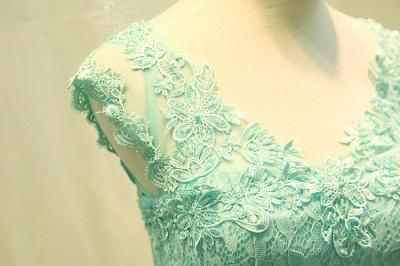 Lace V-Neck Applique  Prom Dress Tulle Lace Up Elegant Long Evening Dresses_4