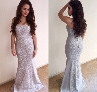 Sweetheart Sexy Mermaid Sleeveless Evening Dresses Zipper Charming Lace Applique  Gowns_2