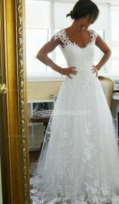 Lace Wedding Dresses  Straps Cap Sleeve Appliques A Line Sweep Train White  Open Back Bridal Gowns_1