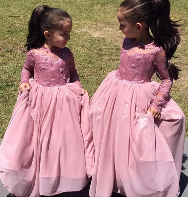A-Line Long Sleeve Pink Flower Girl Dressb  Cute Long Sleeve Wedding Dress BO8435_1