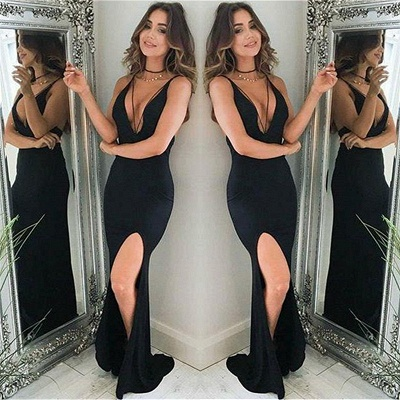 Deep V-neck Sexy Black Evening Dress | Straps Sheath Formal Dress with Slit_3