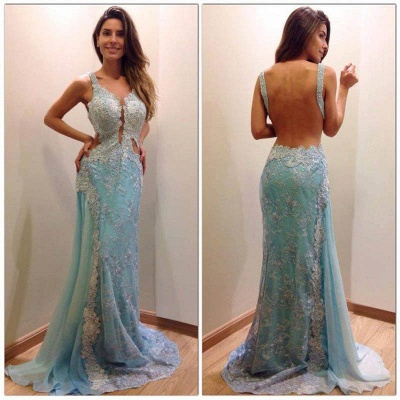 Sexy Backless Sky Blue Prom Dresses Backless Sleeveless Lace Mermaid Long Evening Dress_3