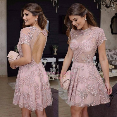 Pink Short-Sleeves Beaded Homecoming Dress | Open-Back Mini Party Dresses_1