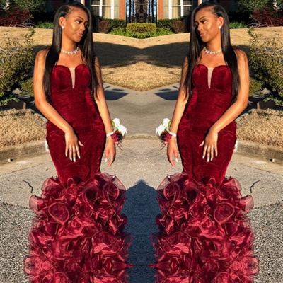 Strapless Mermaid Burgundy Velvet Prom Dresses   Sexy Ruffles Tulle Evening Dress_3