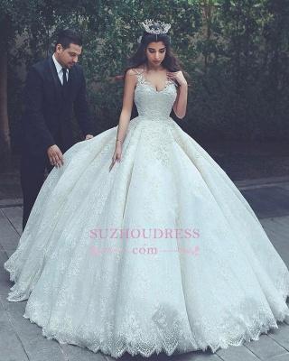 Sleeveless Appliques Popular Bride Dress  V-neck Lace Latest Ball Gown Wedding Dress_1