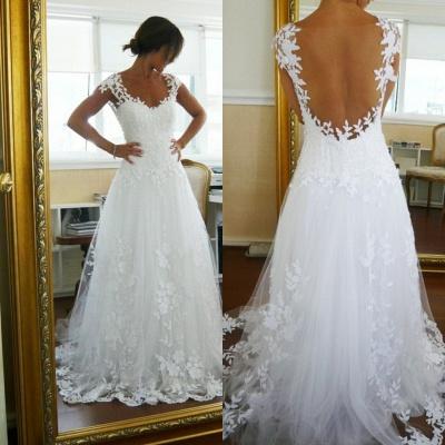 Lace Wedding Dresses  Straps Cap Sleeve Appliques A Line Sweep Train White  Open Back Bridal Gowns_3