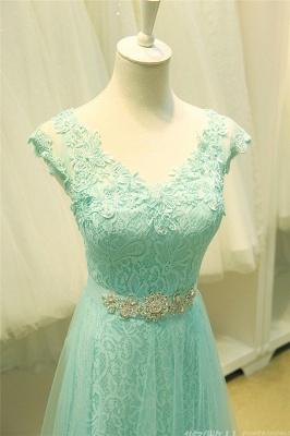 Lace V-Neck Applique  Prom Dress Tulle Lace Up Elegant Long Evening Dresses_6