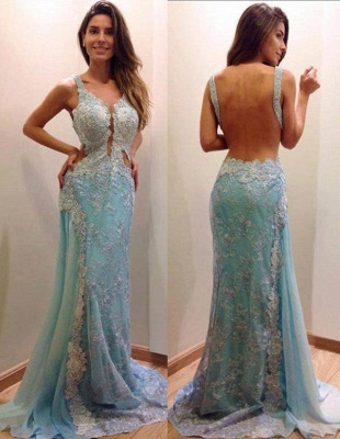 Sexy Backless Sky Blue Prom Dresses Backless Sleeveless Lace Mermaid Long Evening Dress_1