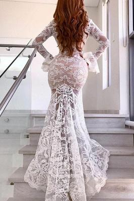 Elegant Mermaid Lace V-Neck Evening Dresses    Long Sleeves Prom Dresses_3
