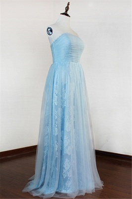Ice Blue Strapless Lace Applique Prom Dresses  Elegant Sweep Train Sheath Homecoming Dresses_3
