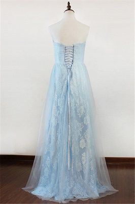 Ice Blue Strapless Lace Applique Prom Dresses  Elegant Sweep Train Sheath Homecoming Dresses_2