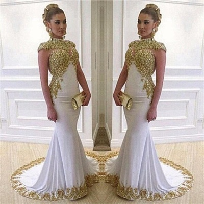 High Neck Cap Sleeves Mermaid Prom Dresses Sweep Train Evening Dresses with Beadings_3