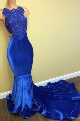 New Arrival Mermaid Royal Blue Velvet Prom Dress   Lace Evening Gown BA5055 MQ0052_1