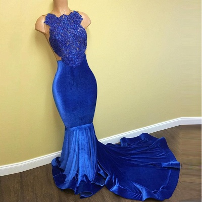 New Arrival Mermaid Royal Blue Velvet Prom Dress   Lace Evening Gown BA5055 MQ0052_3