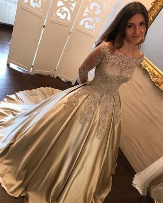 Long Sleeve Gold Lace Appliques Prom Dress  Elegant Puffy Formal Evening Dress BA7165_3