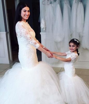 Lovely Short Sleeve Mermaid Children Dresses Lace Mermaid Floor Length Flower Girl Dress BA2193_3